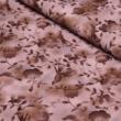 Kép 1/2 - Prémium mintás pamutvászon, barna virágos kismadárral