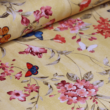 Kép 1/2 - Dekortextil, virág és pillangó sárga 1.40x1.10m