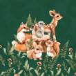 Kép 1/2 - Futter, szabadidő anyag panel 40x50 cm, erdei babák