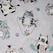 Kép 2/2 - Mintás pamutvászon, sportoló cica