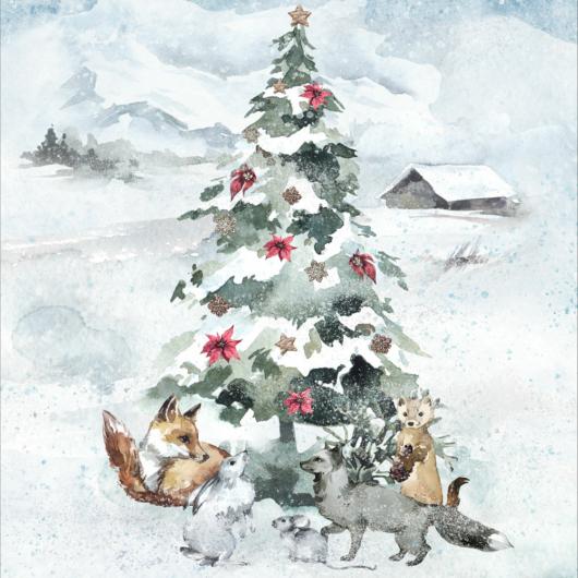 Prémium pamutvászon panel 39x50 cm, A téli erdő legendái, karácsonyfa