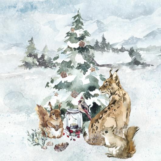 Prémium pamutvászon panel 39x50 cm, Az erdő legendái, tél, hiúz