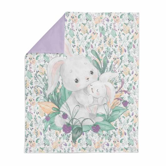 Prémium pamutvászon panel 75x100 cm, Baba és mama nyuszi