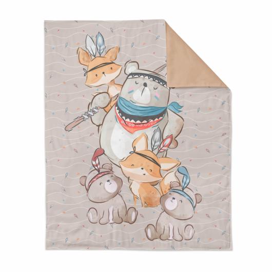 Prémium pamutvászon panel 75x100 cm, Boho mackó és róka