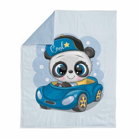 Prémium pamutvászon panel 75x100 cm, Panda a kocsiban