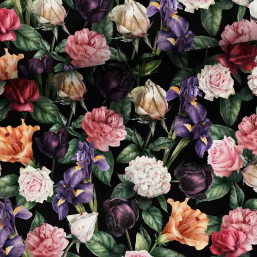 Prémium mintás pamutvászon, Az éjszaka virágai