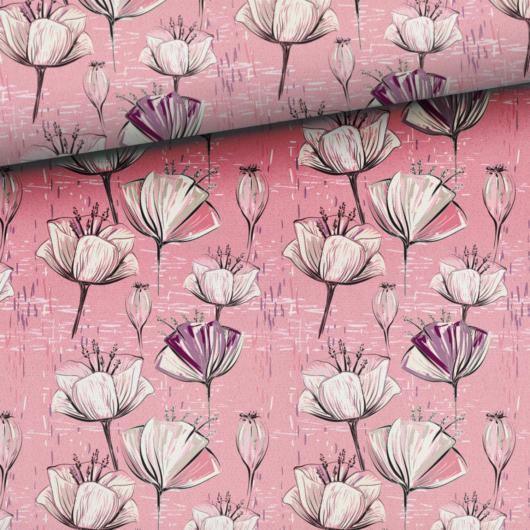Prémium mintás pamutvászon, Rózsaszín virágok