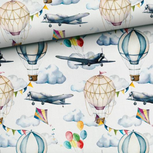 Prémium mintás pamutvászon, Repülők és hőlégballonok