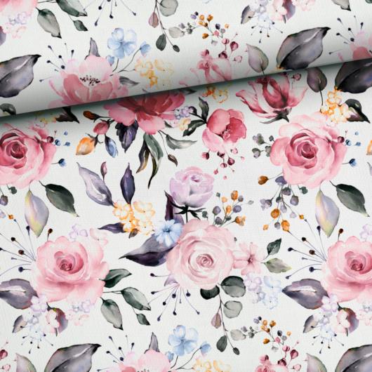 Prémium mintás pamutvászon, Tavaszi rózsák