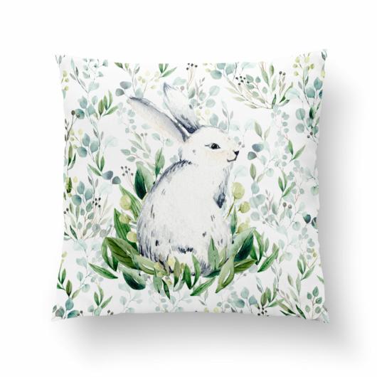 Prémium pamutvászon panel 38x38 cm, Nyuszi ül a fűben