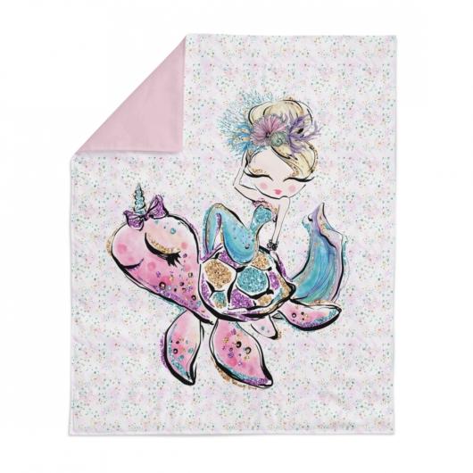 Prémium pamutvászon panel 75x100 cm, Sellő és teknős