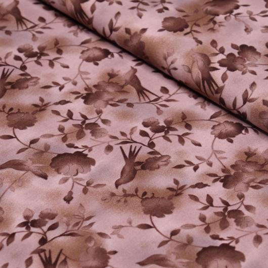 Prémium mintás pamutvászon, barna virágos kismadárral