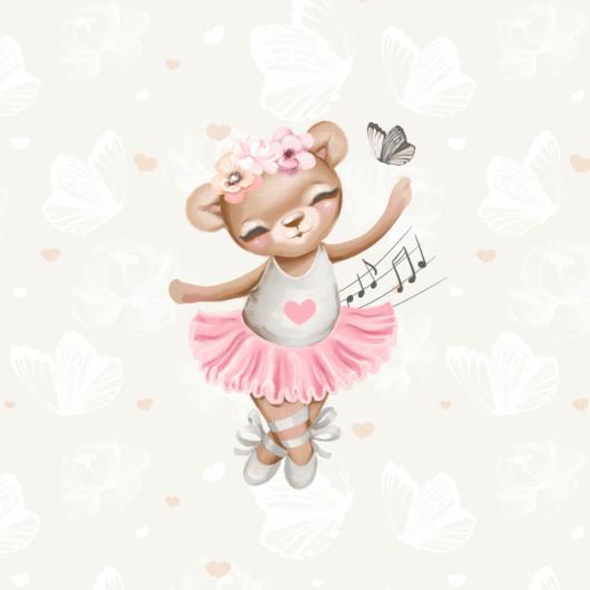 Futter, szabadidő anyag panel 40x50 cm, Édes balerina maci