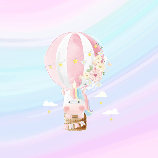Futter, szabadidő anyag panel 40x50 cm, Egyszarvú hőlégballonban