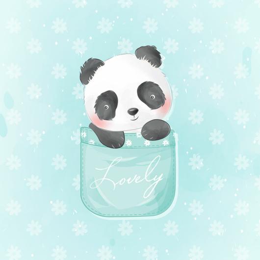 Futter, szabadidő anyag panel 40x50 cm, Panda zsebben