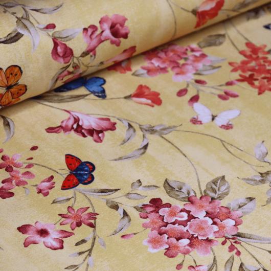Dekortextil, virág és pillangó sárga