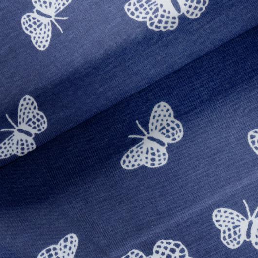Elasztikus pamut jersey, kék pillangó