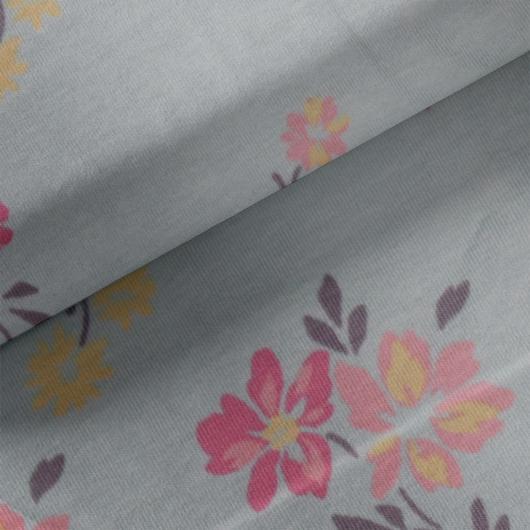 Elasztikus pamut jersey, kék virágoskert