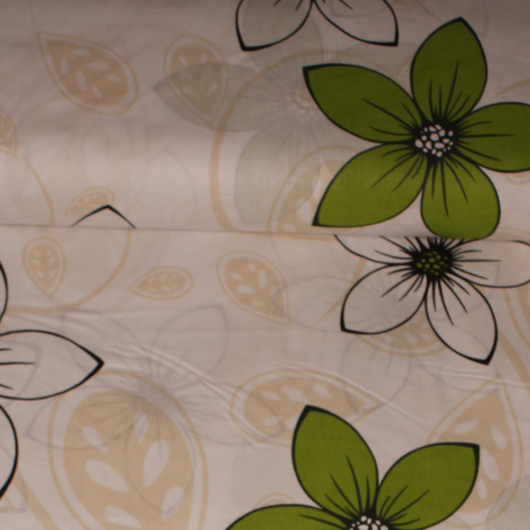 Extra széles pamutvászon, zöld virágok 240 cm