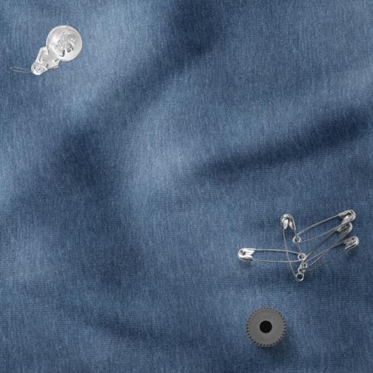Bolyhozott futter, szabadidő anyag koptatott kék színben