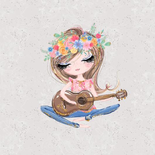 Futter, szabadidő anyag panel, 40x50 cm, Lány gitárral