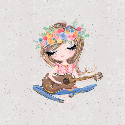 Futter, szabadidő anyag panel 40x50 cm, Lány gitárral