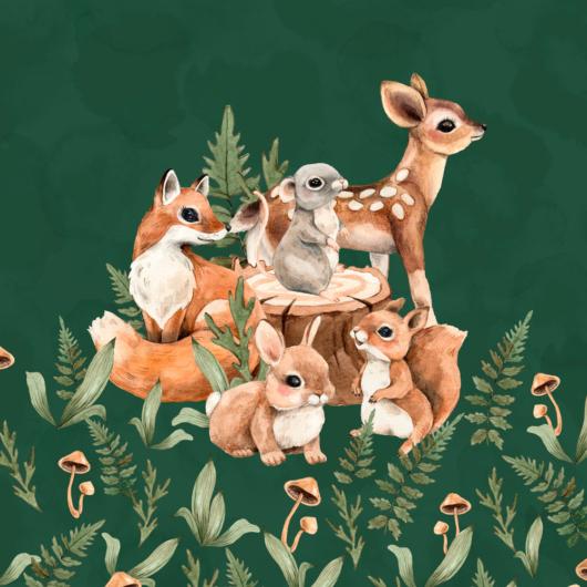 Futter, szabadidő anyag panel 40x50 cm, erdei babák