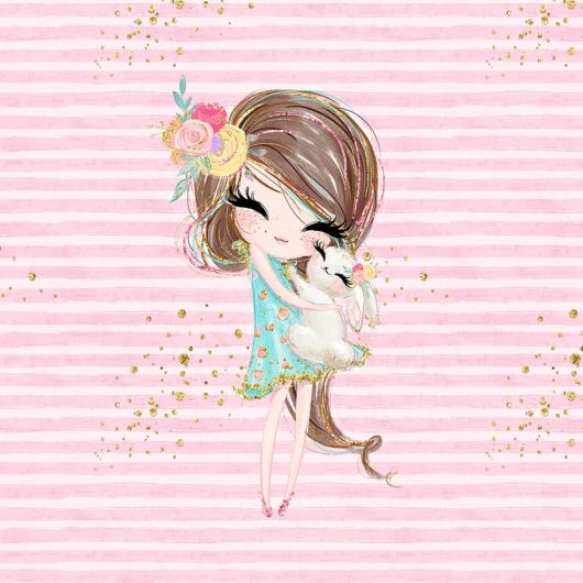 Futter, szabadidő anyag panel 40x50 cm, Lány és rózsanyúl