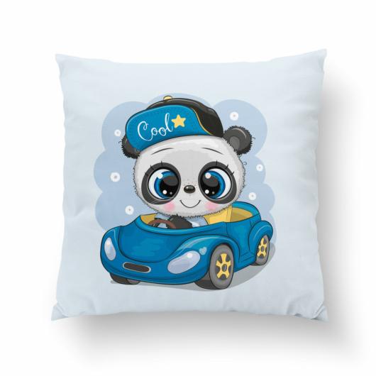 Prémium pamutvászon panel 38x38 cm, Panda az autóban