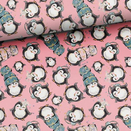 Prémium mintás futter, Sarkvidéki pingvinek, rózsaszín