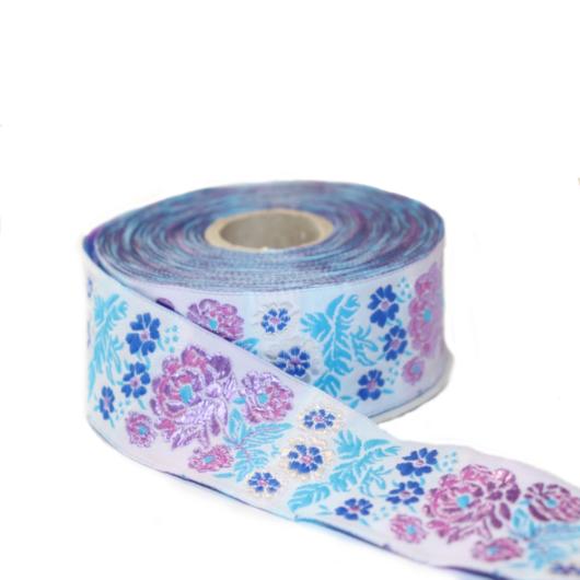 Díszítő szalag, lila és kék virágos