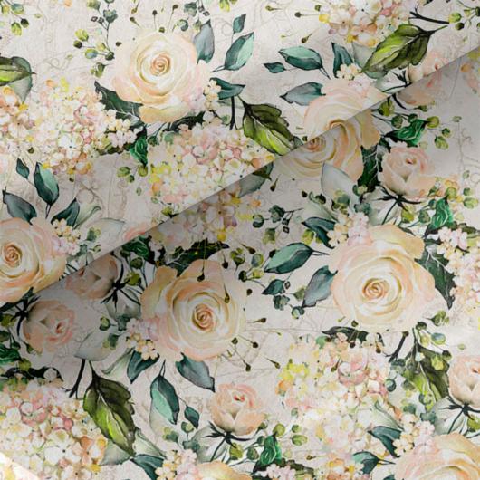 Loneta vászon világos virágoskert