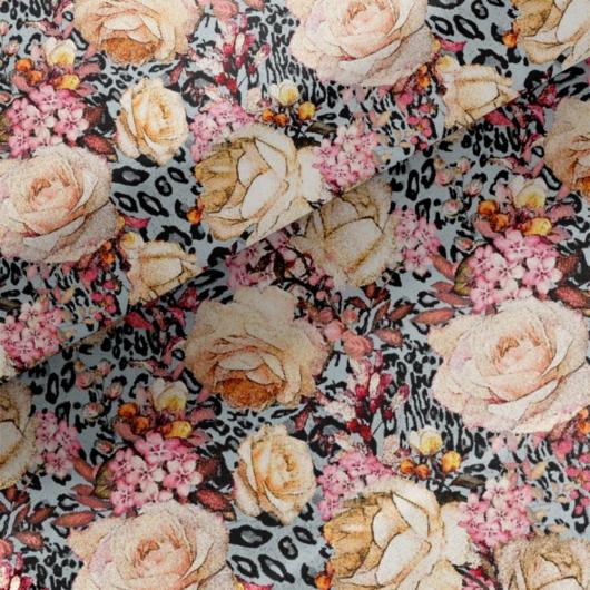 Loneta vászon, hópárduc rose