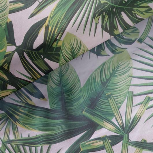 Loneta vászon, zöld levelek