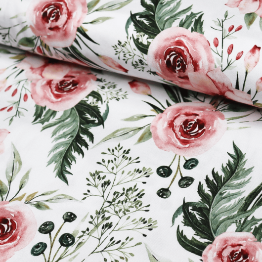 Prémium mintás pamutvászon, Meseszép rózsaszín virágok