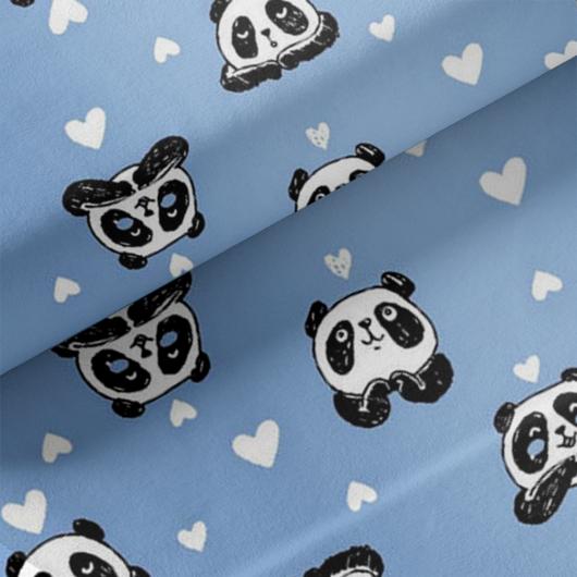 Elasztikus pamut jersey, panda