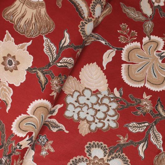 Extra széles pamutvászon, piros virágok 240 cm